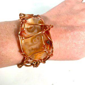 Agate Genuine Gemstone Copper Cuff Bracelet Modern